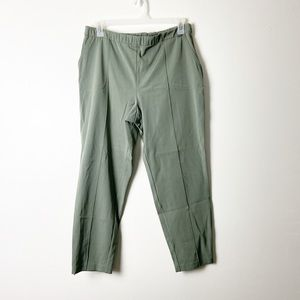 ST JOHN • Green Tapered Front Seam Ankle Pants
